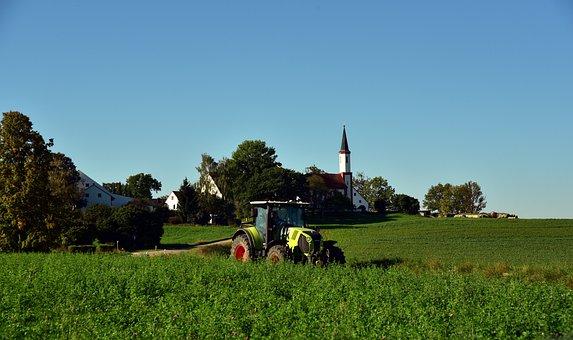 Village, Bavaria, Rural, Tractor, Idyllic, Romantic