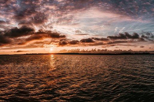 Sunset, Sea, Water, Rügen, Ocean, Sky, Evening