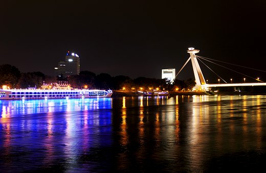 Night, Bratislava, Ship, Create, Slovakia, Bridge, City