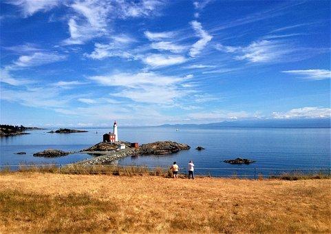 Lighthous, Nature, Canada, Clear Sky, Sun, Columbia