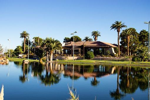 Clubhouse, Golf Course, Las Vegas, Lake