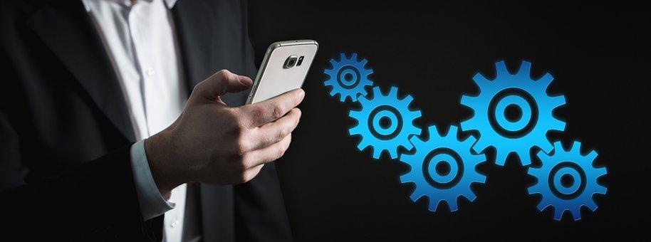 Smartphone, Gears, Control, Board, Industry