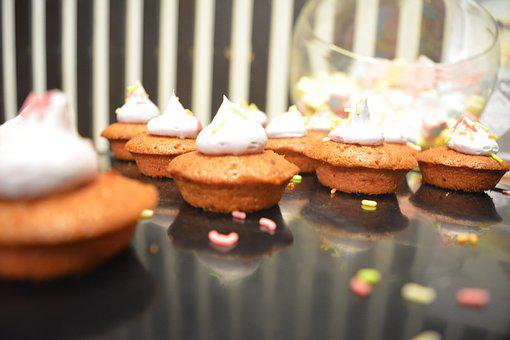 Cup Cakes, Cream Cup Cakes, Cream, Sweet, Cake, Snack