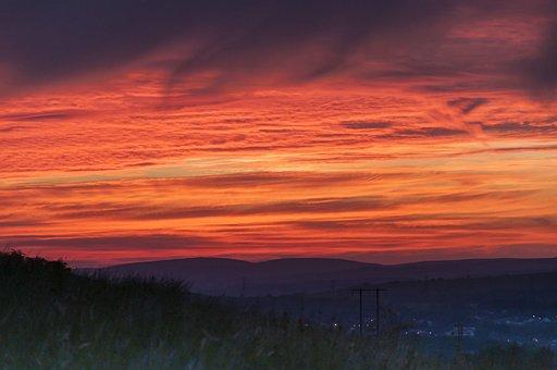 Sunset, Sky, Silhouette, Evening, Clouds, Mood