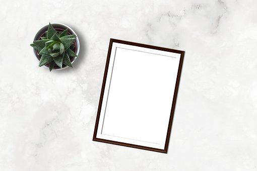 Marble, Frame, Mockup, Flatlay, Plant, Ecommerce, Blank