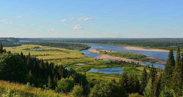 Landscape, River, Summer, Nature, Forests, Trees