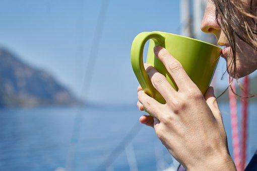 Woman, Coffee, Drink, Green, Glass, Cup, Marine