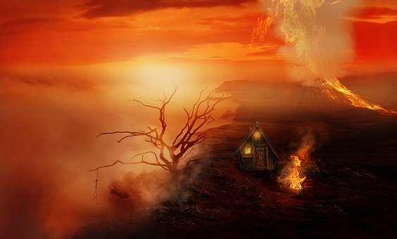 Landscape, House, Tree, Volcano, Lava, Fire, Clouds