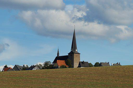 Village, Field, Sauerland, Hsk, Kallenardt, Church