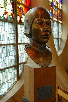 Jeanne D'arc, Head, Brass, Image, Sculpture, Church