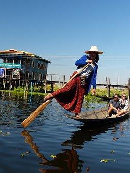 Myanmar, Inle, Lake, Single-leg-rowers, Burma, Boats