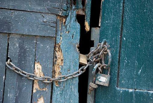 Old, Weather-beaten, Expiration, Lock, Door