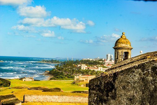 Castle, Puerto Rico, Ocean, Beach, Waves, Clouds, Fort