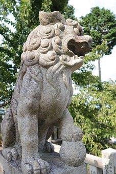 Guardian Dogs, Stone Statues, Sculpture, Shrine, Japan