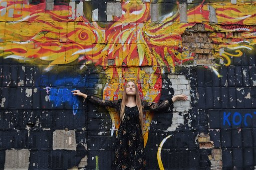 Phoenix, Graffiti, Wings, Girl, Wall, Art, Bird