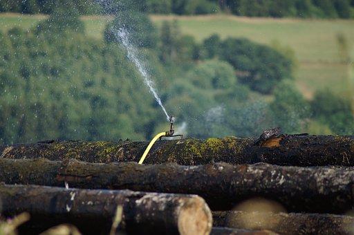 Sawmill, Wood Trunks, Wood, Water, Spränkeln