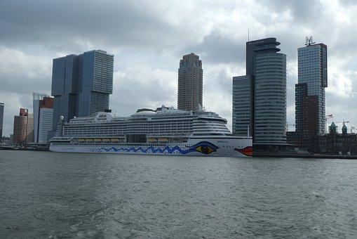 Cruise Ship, Aida Perla, Rotterdam, Skyline, Port, City