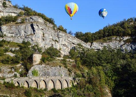 Landscape, Rock, Bridge, Hot-air Ballooning, Ball, Tree