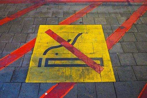 Mark, Pavement, Ban, Prohibited, Smoking, Red, Warning