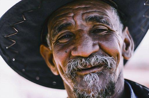 Man, Beard, Hat, Smiling, Male, Face