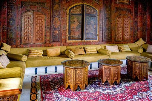 Living Room, Oriental, Palace, Sofa, Bench, Cushion