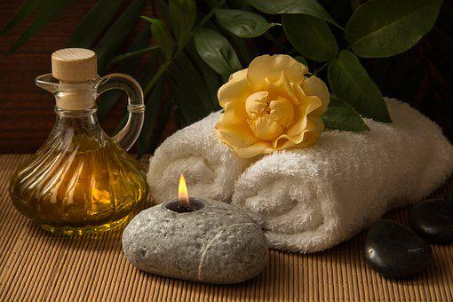 Wellness, Carafe, Towels, White, Rolled, Candle, Light