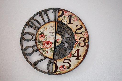 Clock, Time, Hours, Clock Face, Retro Look, Roses