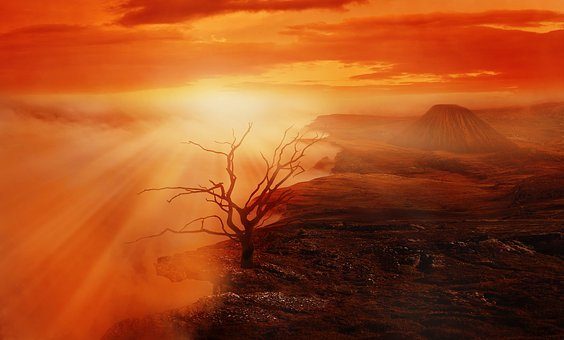 Landscape, Tree, Volcano, Clouds, Sky, Abyss, Fog