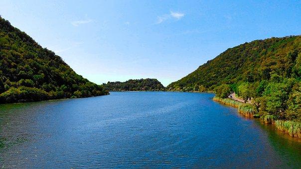 The Lake Of Segrino, Como, Lombardy, Green, Hills