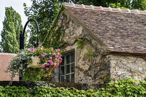 House, Flower, Roof, Tile, Pierre, Vegetation
