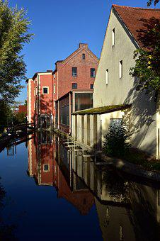 Channel, Water, Houses, Mirroring, Historically, Old
