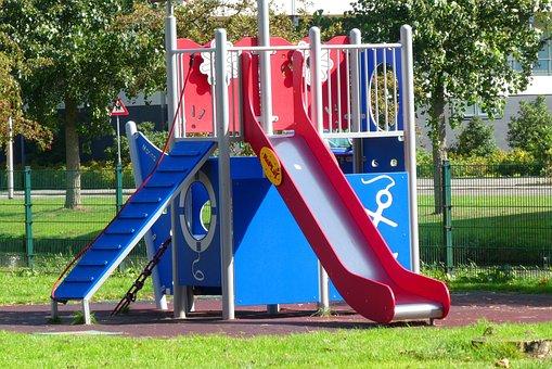 Children's Playground, Slide, Klimtoestel, Fun