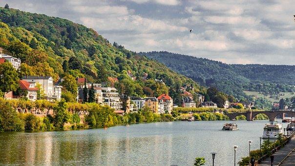 Landscape, City, River, Bank, Heidelberg