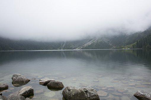 Landscape, Morskie Oko, Lake, The Fog, Poland, Nature