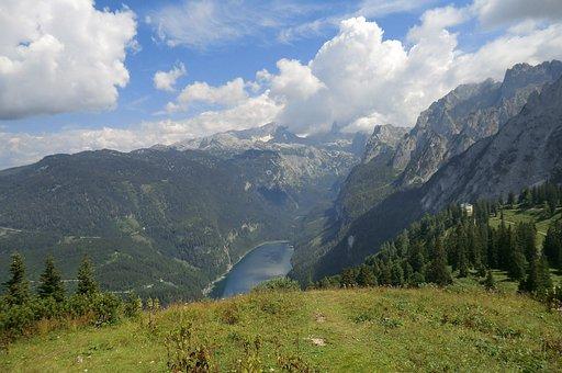 Panorama, Zwieselalm, Mountains, Austria, Gosausee