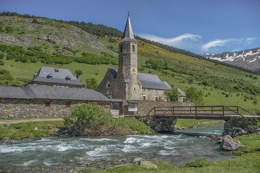 River, Water, Church, Nature, Architecture, Bridge