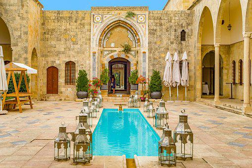 Palace, Oriental, Pool, Swimming Pool, Patio, Arcades