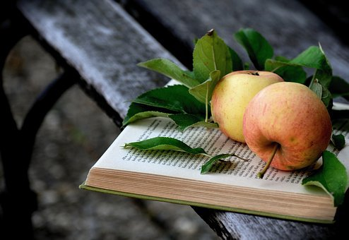 Apple, Bank, Book, Read, Pitched, Book Pages, Fruit