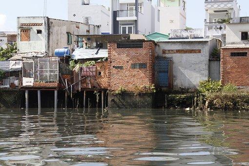 Vietnam, River, Houses, Outdoor, Water