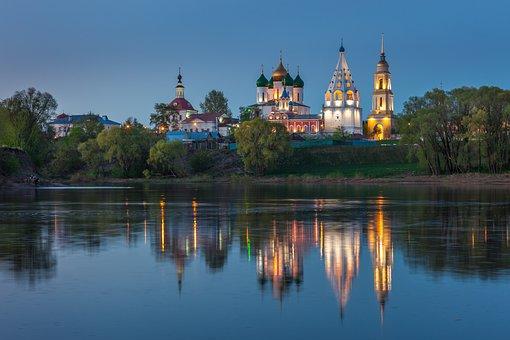 Kolomna, Evening, Reflection, Russia, River, Monastery