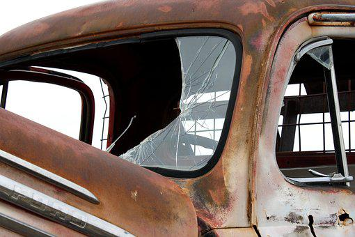 Truck, Rust, Windshield, Broken Glass, Rusted, Old