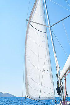 Sailboat, Boat, Blue, Yacht, Sky, Water, Ship, Sail