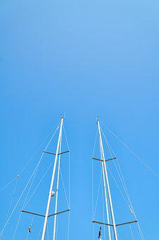 Direct, High, Boat, Sailboat, Blue, Sky, Poles