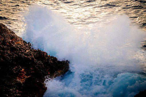 Sea, Wave, Water, Ocean, Blue, Side, Roche, Majorca