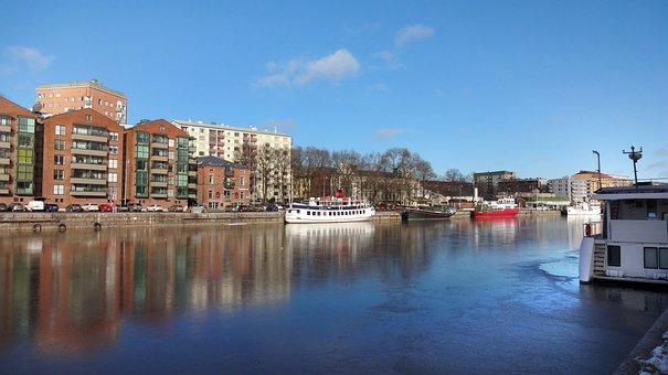 Landscape, Summer, Ship, River, Aura River, Turku