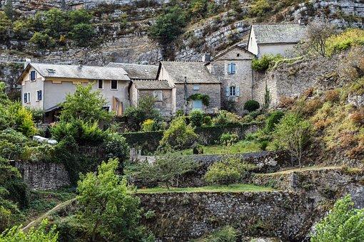 Village, House, Rock, Architecture, Pierre, Wall