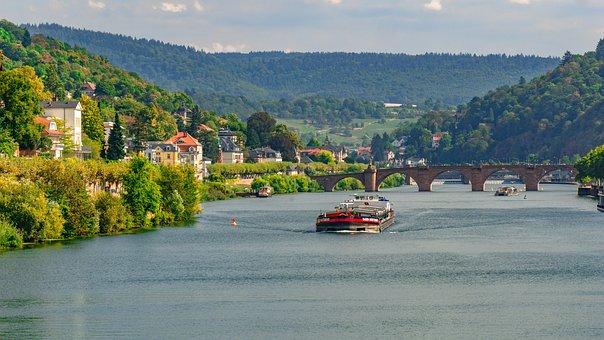 Landscape, River, City, Water, Heidelberg