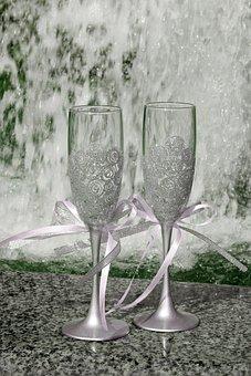Wine Glasses, Wedding, Celebration, Romantic, Love