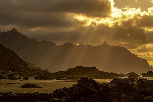 Beach, Sunset, Mountains, Ocean, Sky, Twilight
