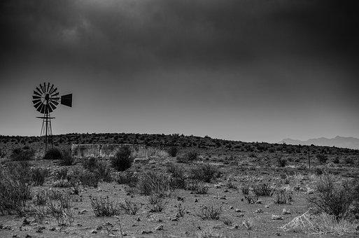 Windmill, Desert, Black And White, Monochrome